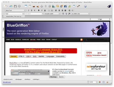 BlueGriffon is a new WYSIWYG content editor for the World Wide Web