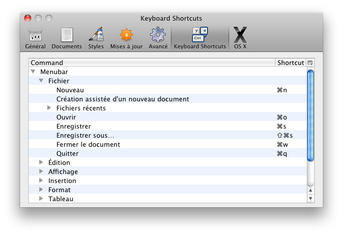 Keyboard Shortcuts panel in Preferences window